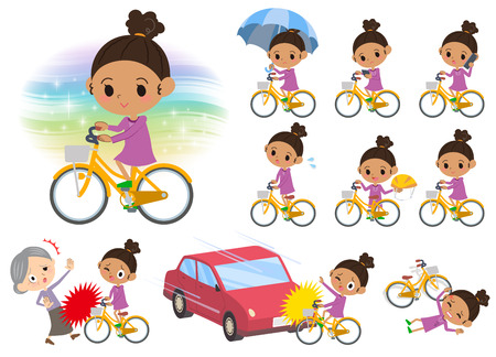 Set of various poses of a hair with bicycle