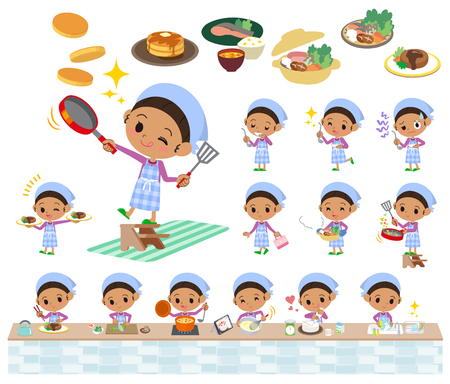 Set of various poses of a hair girl cooking