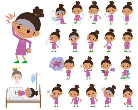 Set of various poses of a hair girl with sickness Illustration