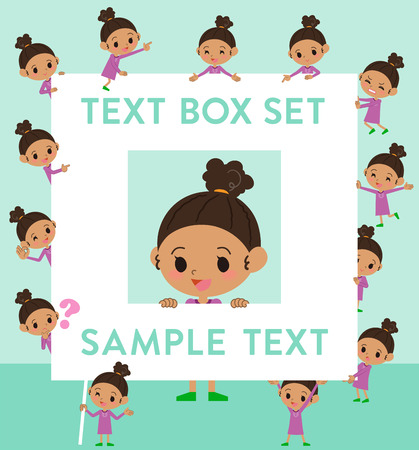 Set of various poses of perm hair girl text box Illustration