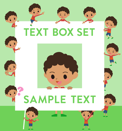 Set of various poses of perm hair boy text box Illustration