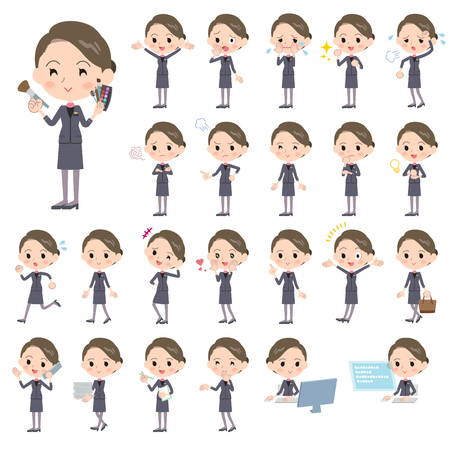 tired: Set of various poses of Beauty staff women_1 Illustration