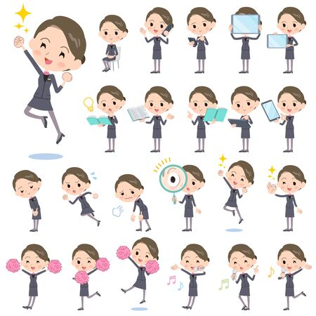 tired: Set of various poses of Beauty staff women_2