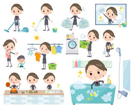 Satz verschiedene Haltungen von Schönheitspersonal women_Housekeeping Standard-Bild - 87566549