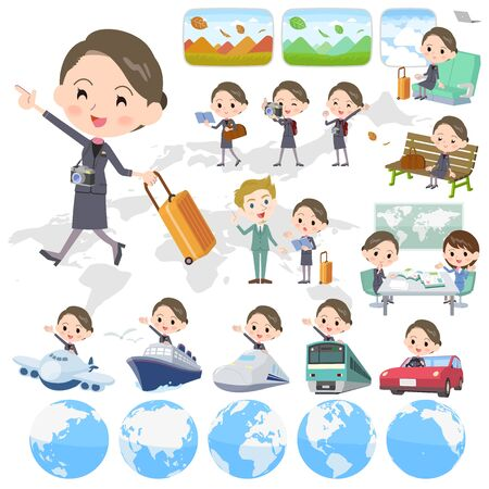 map case: Set of various poses of Beauty staff women_travel