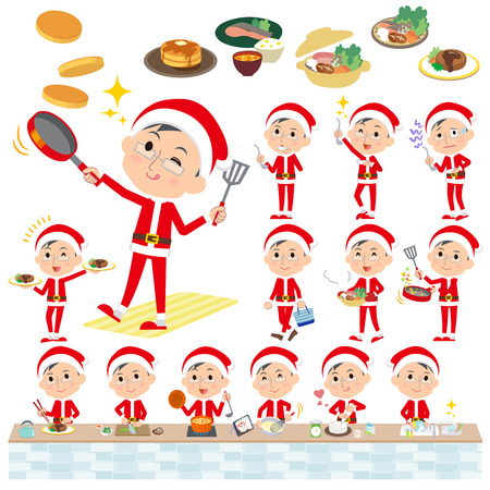 Set of various poses of Santa Claus Costume dad_cooking Illustration