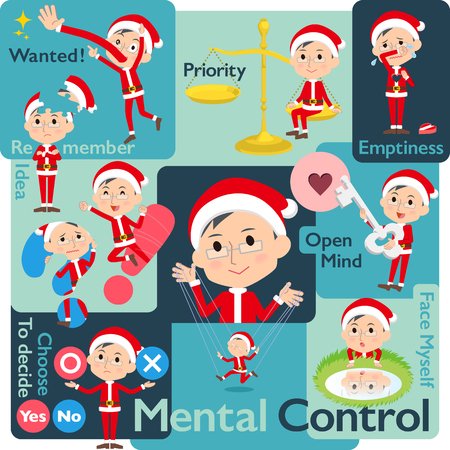 Set of various poses of Santa Claus Costume dad_Mental & volition