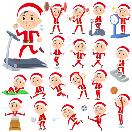 man drinking water: Set of various poses of Santa Claus Costume dad_Sports & exercise
