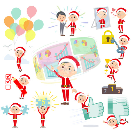 Set of various poses of Santa Claus Costume dad_success & positive Illustration