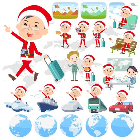 Set of various poses of Santa Claus Costume dad_travel