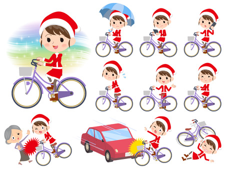 Set of various poses of Santa Claus Costume mom_city bicycle  イラスト・ベクター素材