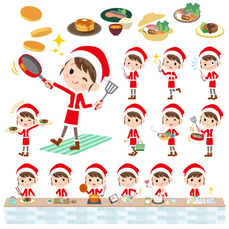 Set of various poses of Santa Claus Costume mom_cooking Illustration