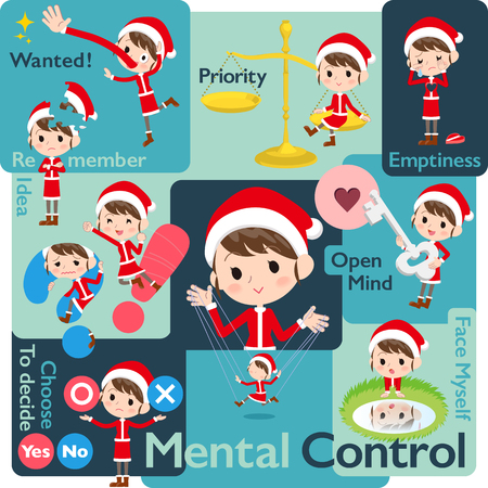 Set of various poses of Santa Claus Costume mom_Mental & volition Illustration