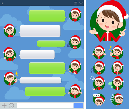 smartphone icon: Set of various poses of Santa Claus Costume mom_sns