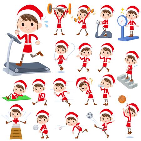 Set of various poses of Santa Claus Costume mom_Sports & exercise