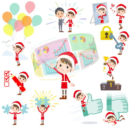 Set of various poses of Santa Claus Costume mom_success & positive