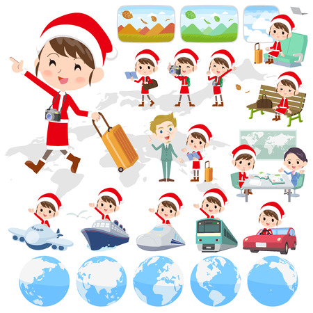 Set of various poses of Santa Claus Costume mom_travel