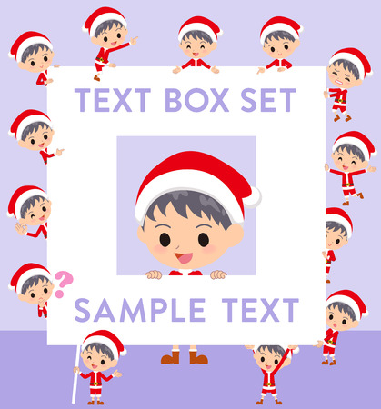 Set of various poses of a boy in Santa Claus costume.