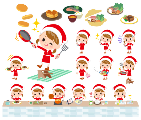 Set of various poses of a girl in Santa Claus costume.