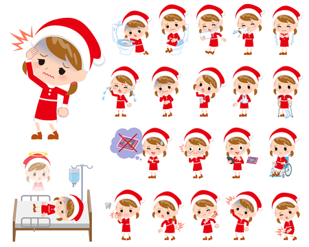 Set of various poses of a girl in Santa Claus costume. Illustration