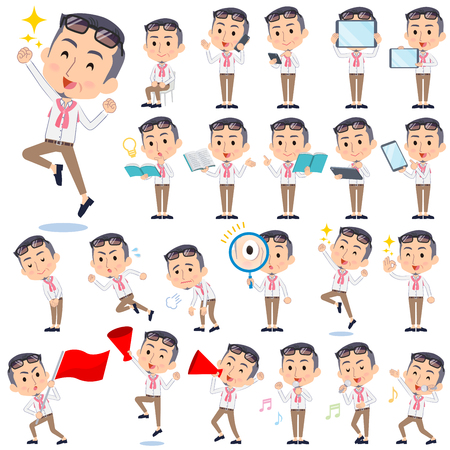 Set of various poses of producer middle men_2 向量圖像