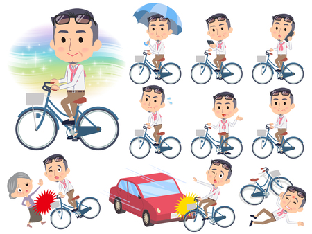 Set of various poses of producer middle men_city bicycle