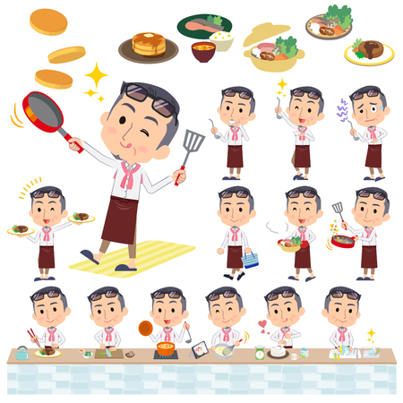 Set of various poses of producer middle men_cooking