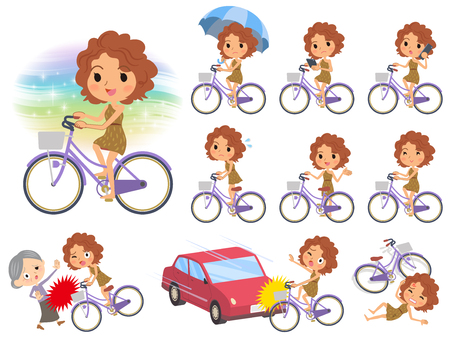 Set of various poses of Primitive women_city bicycle