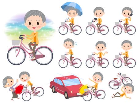 Set van verschillende poses van kortharige oude vrouw op een fiets.