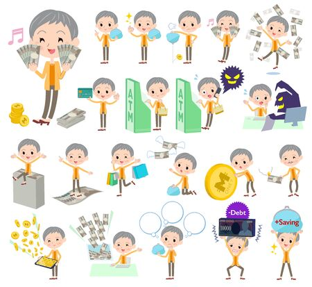 Set of various poses of short haired old woman in a money concept illustration. Illustration