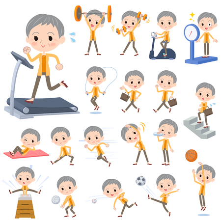 Set of various poses of short haired old woman exercising.