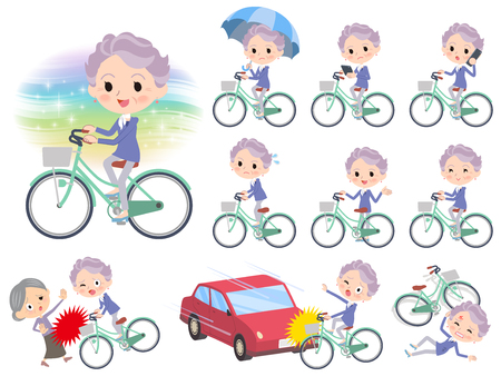 Set of various poses of blue one piece old women with city bicycle
