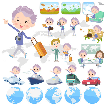 Set of various poses of blue one piece old women travel 向量圖像
