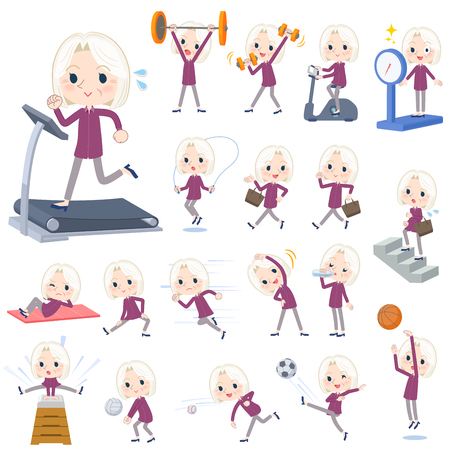 Set of various poses of purple shirt old women White_Sports & exercise