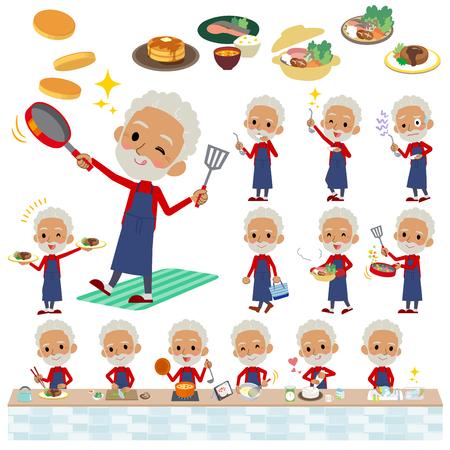 Ensemble de diverses poses de vieillard à col haut rouge black_cooking Banque d'images - 88165868
