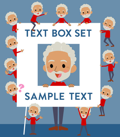 Set of various poses of red high neck old man black_text box Illustration