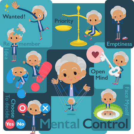 Set of various poses of Navy cardigan old women with Mental