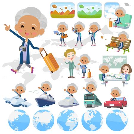 Set of various poses of Navy cardigan old women traveling Illustration
