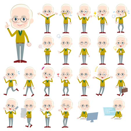 Set of various poses of Yellow Ocher knit old man White_1