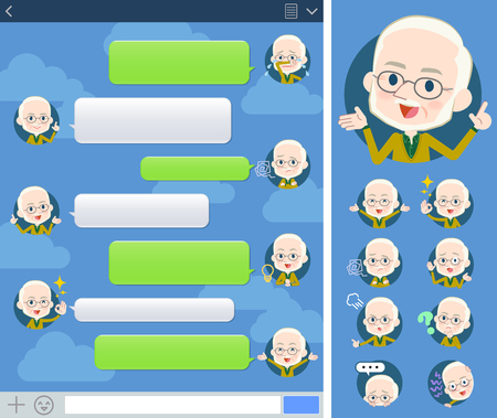 Set of various poses of Yellow Ocher knit old man White_sns Иллюстрация