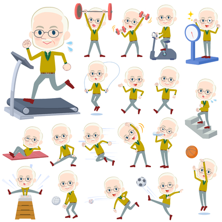 Set of various poses of Yellow Ocher knit old man White_Sports & exercise