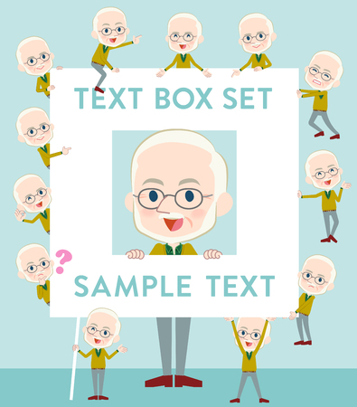 Set of various poses of Yellow Ocher knit old man White_text box Illustration