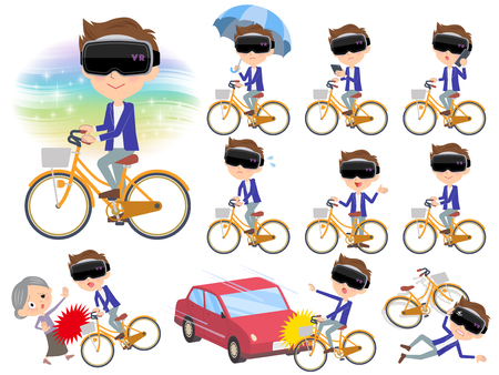 Set of various poses of virtual reality goggle men_city bicycle Illustration
