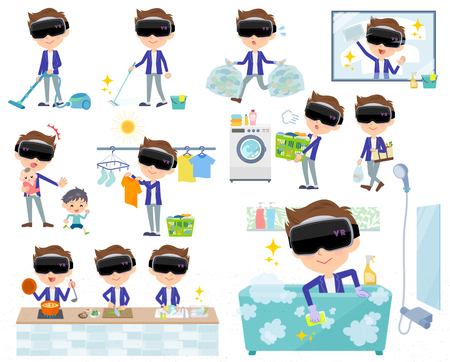Set of various poses of virtual reality goggle men_housekeeping Illustration