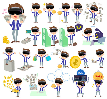 Set of various poses of virtual reality goggle men_money Illustration