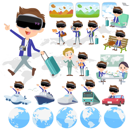 Set of various poses of virtual reality goggle men_travel