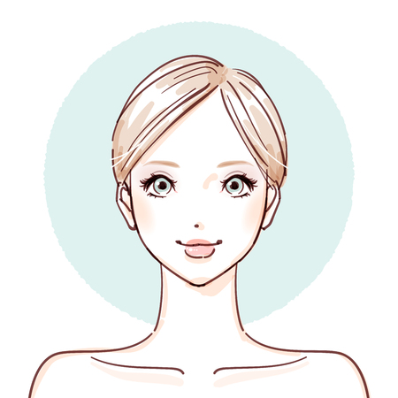 Woman with no make up icon.  イラスト・ベクター素材
