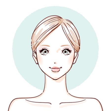 Kobieta bez makijażu ikony. Ilustracje wektorowe