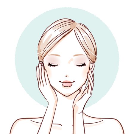 Woman with hands on her cheeks icon.