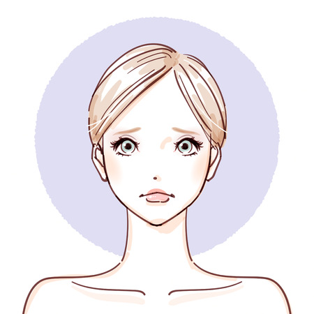 make up model: Woman with no make up icon. Illustration